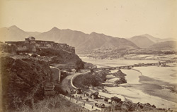Fort Attock with bridge of boats & Khairabad, from below the old serai on left bank of Indus.